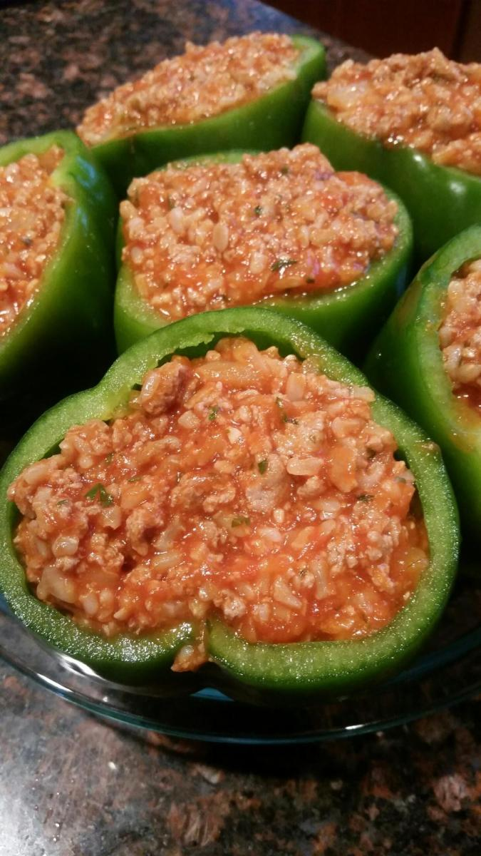 Ground Turkey and Brown Rice Stuffed Peppers