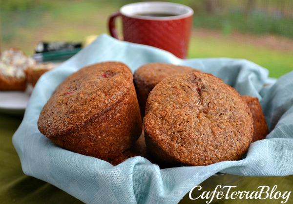 Strawberry Banana Quinoa Bran Muffins